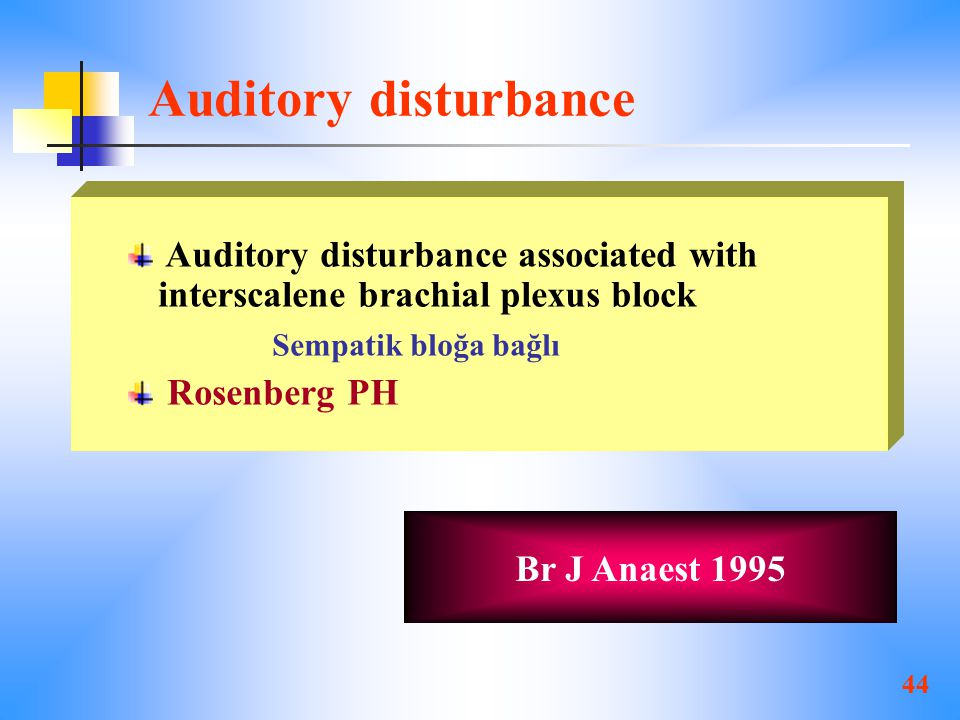 Auditory disturbance Auditory disturbance associated with interscalene brachial plexus block. Sempatik bloğa bağlı.