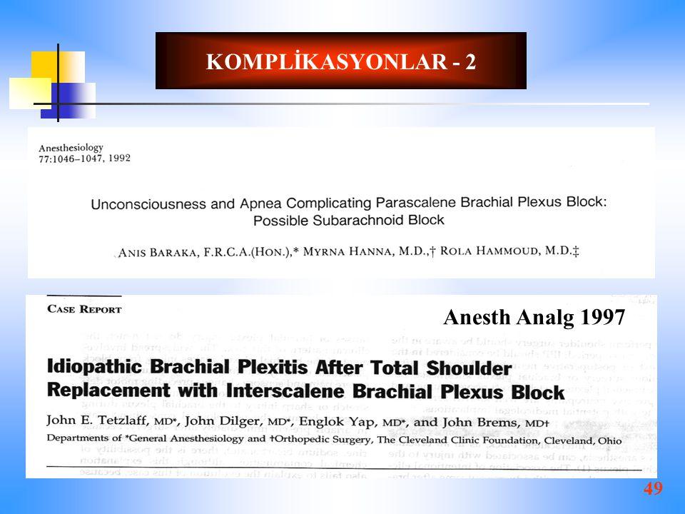 KOMPLİKASYONLAR - 2 Anesth Analg 1997