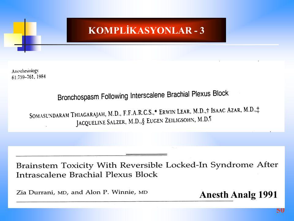 KOMPLİKASYONLAR - 3 Anesth Analg 1991