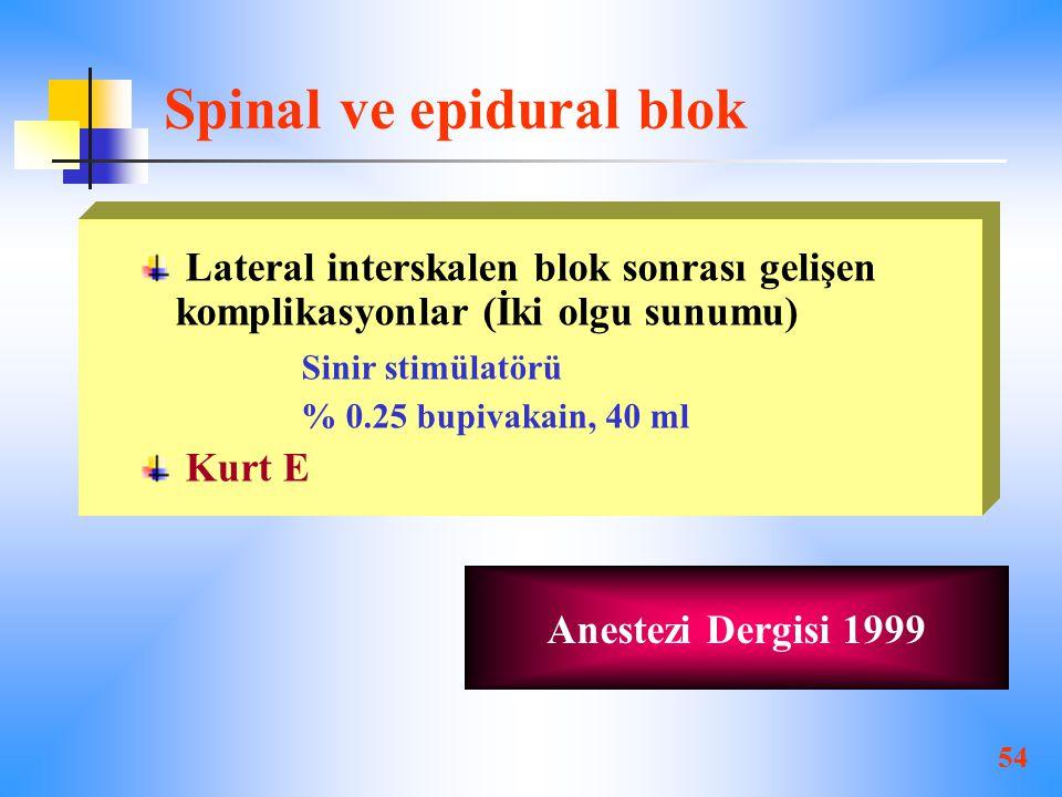 Spinal ve epidural blok