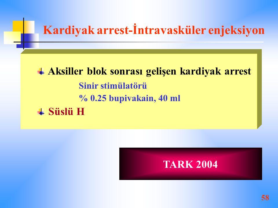 Kardiyak arrest-İntravasküler enjeksiyon