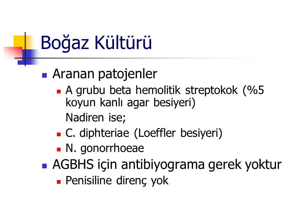 Boğaz Kültürü Aranan patojenler AGBHS için antibiyograma gerek yoktur