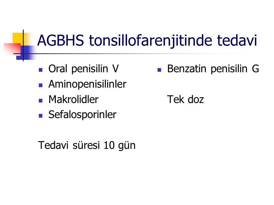 AGBHS tonsillofarenjitinde tedavi