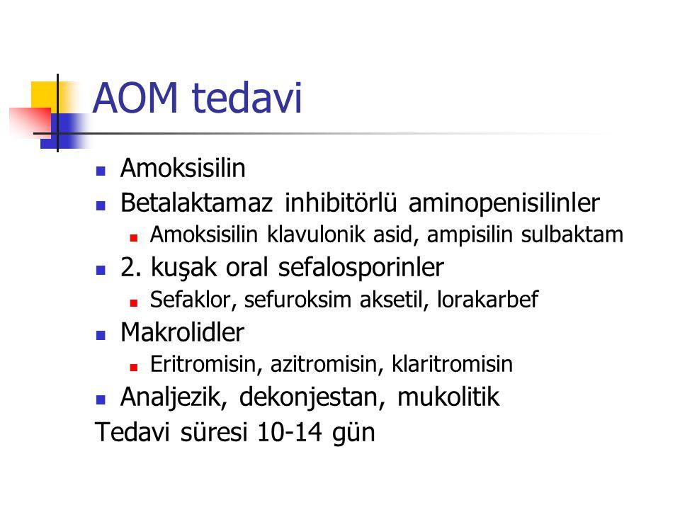 AOM tedavi Amoksisilin Betalaktamaz inhibitörlü aminopenisilinler