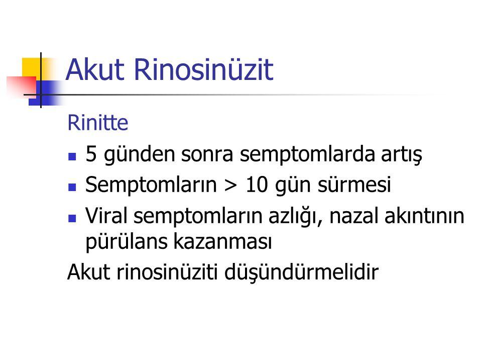 Akut Rinosinüzit Rinitte 5 günden sonra semptomlarda artış