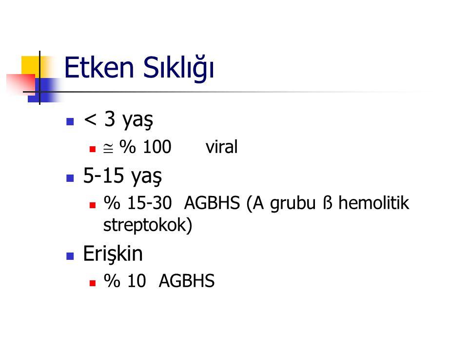 Etken Sıklığı < 3 yaş 5-15 yaş Erişkin  % 100 viral