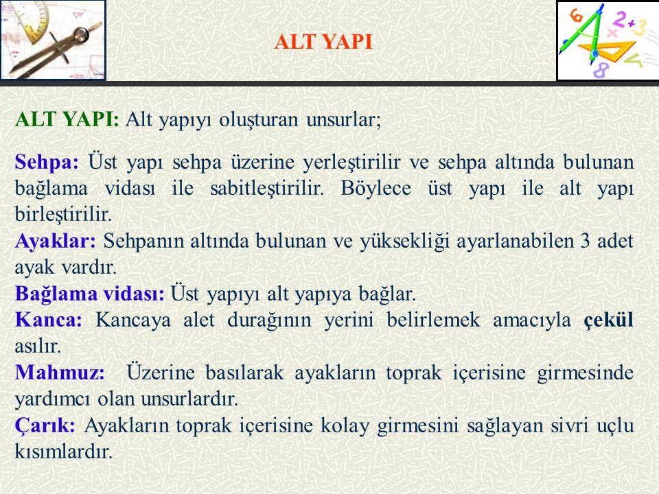 ALT YAPI ALT YAPI: Alt yapıyı oluşturan unsurlar;