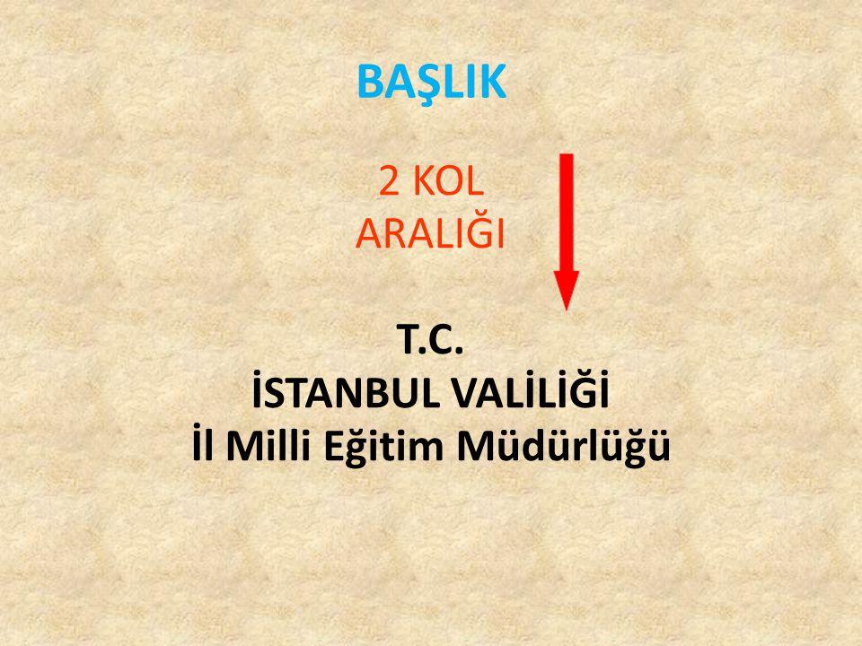 2 KOL ARALIĞI T.C. İSTANBUL VALİLİĞİ İl Milli Eğitim Müdürlüğü