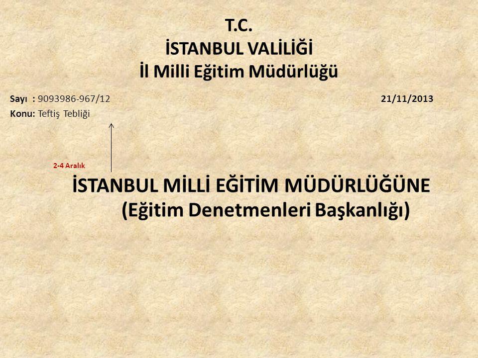 T.C. İSTANBUL VALİLİĞİ İl Milli Eğitim Müdürlüğü