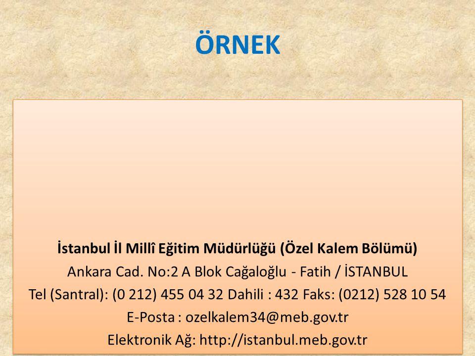İstanbul İl Millî Eğitim Müdürlüğü (Özel Kalem Bölümü)