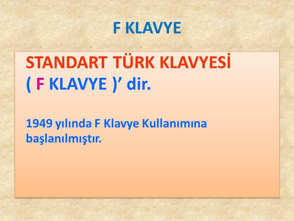 F KLAVYE STANDART TÜRK KLAVYESİ ( F KLAVYE )' dir.