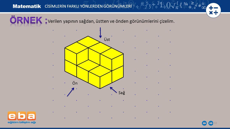 ÖRNEK : Verilen yapının sağdan, üstten ve önden görünümlerini çizelim.