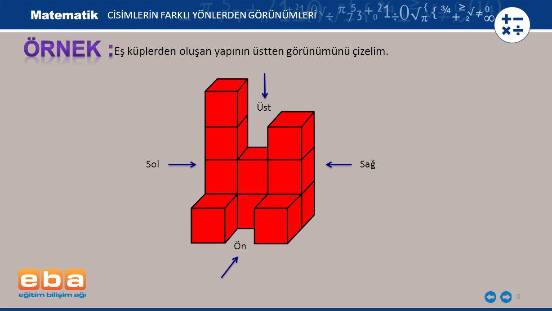 ÖRNEK : Eş küplerden oluşan yapının üstten görünümünü çizelim.