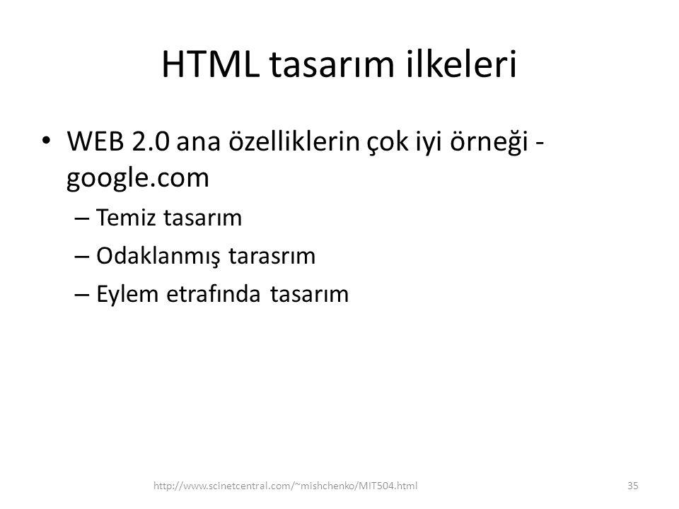 HTML tasarım ilkeleri WEB 2.0 ana özelliklerin çok iyi örneği -google.com. Temiz tasarım. Odaklanmış tarasrım.