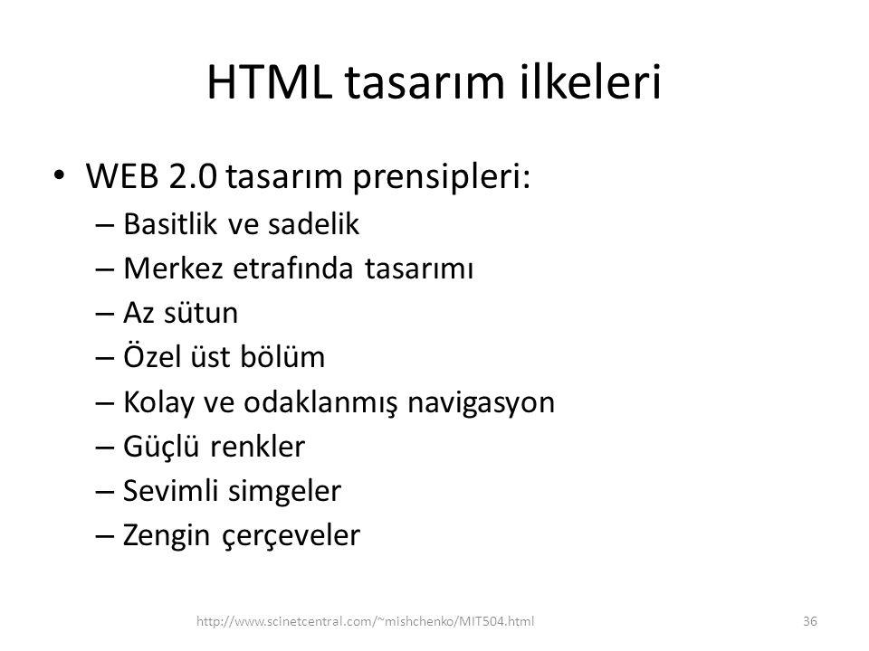 HTML tasarım ilkeleri WEB 2.0 tasarım prensipleri: Basitlik ve sadelik