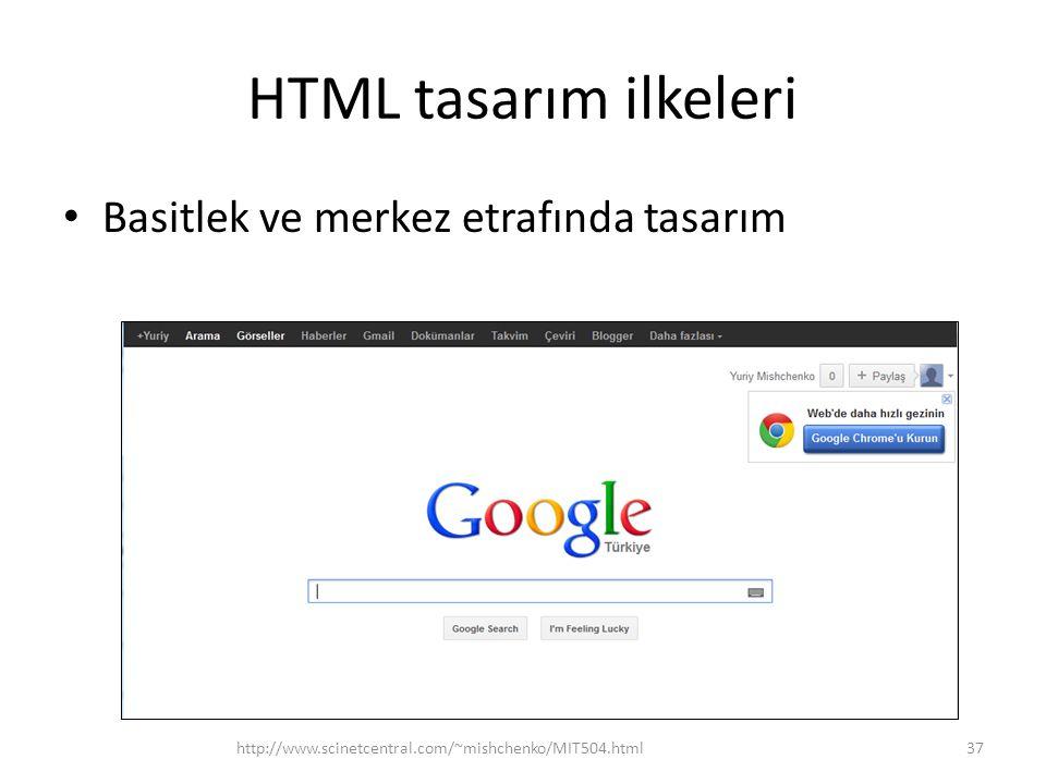 HTML tasarım ilkeleri Basitlek ve merkez etrafında tasarım