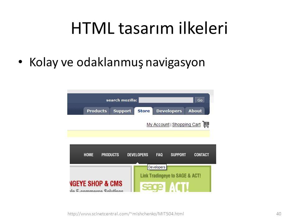 HTML tasarım ilkeleri Kolay ve odaklanmuş navigasyon