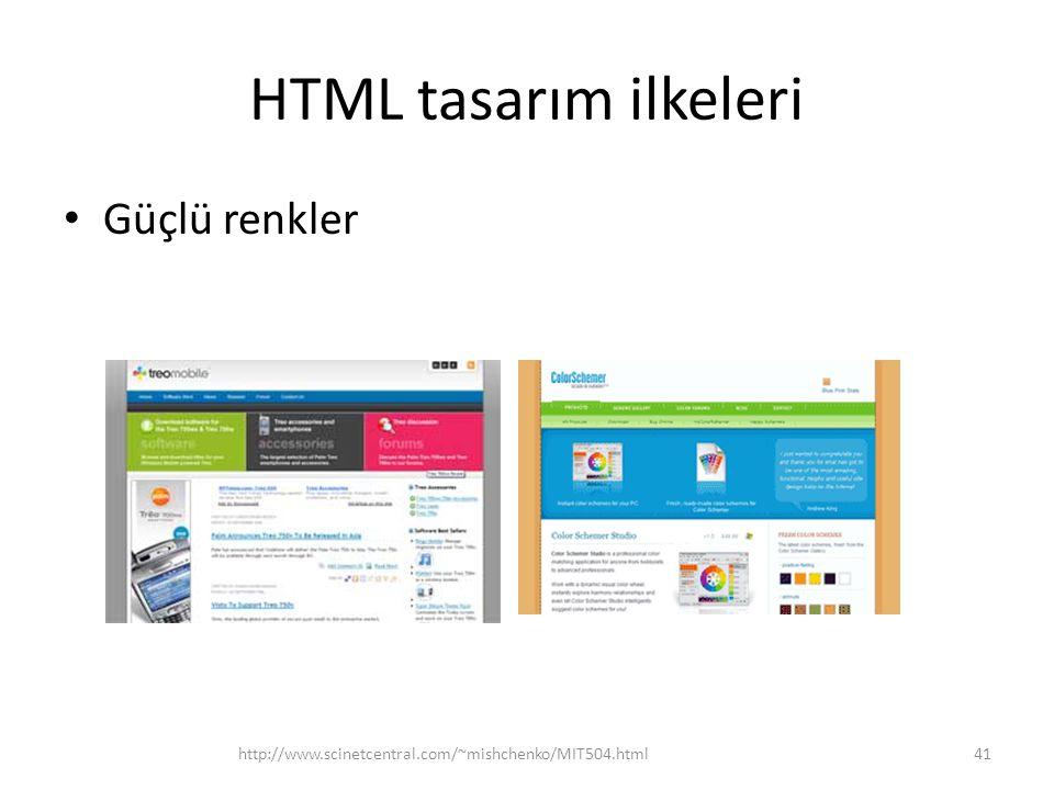 HTML tasarım ilkeleri Güçlü renkler