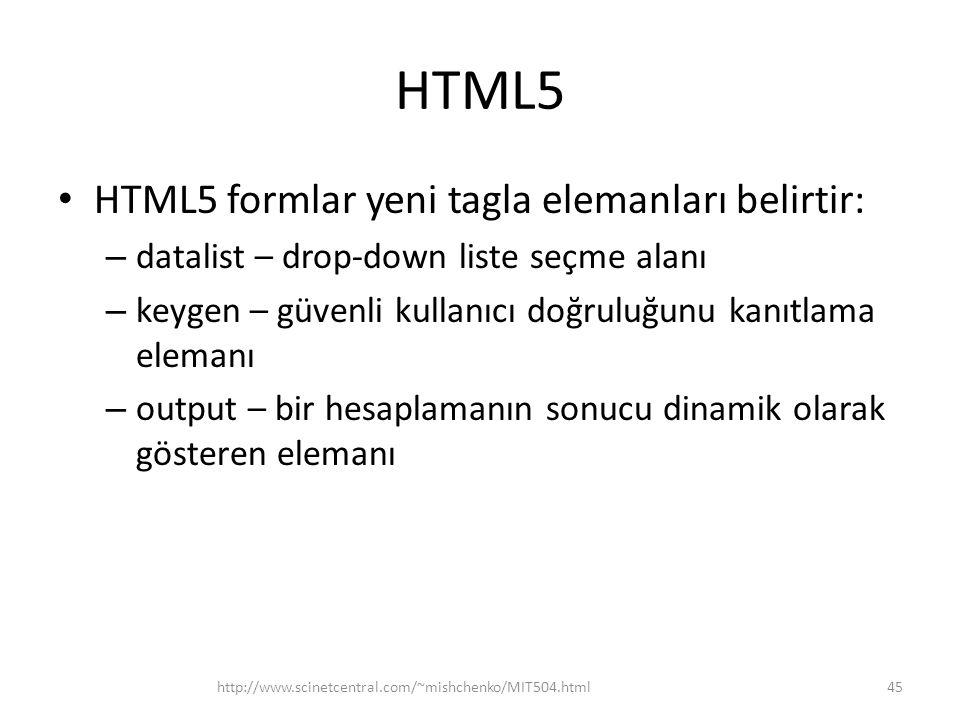 HTML5 HTML5 formlar yeni tagla elemanları belirtir: