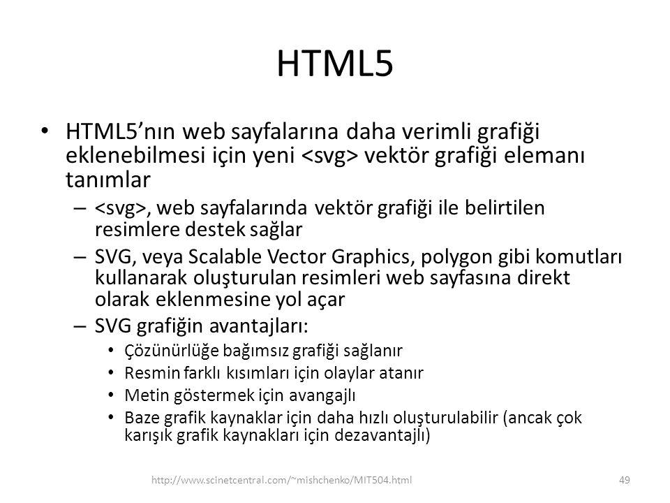 HTML5 HTML5'nın web sayfalarına daha verimli grafiği eklenebilmesi için yeni <svg> vektör grafiği elemanı tanımlar.