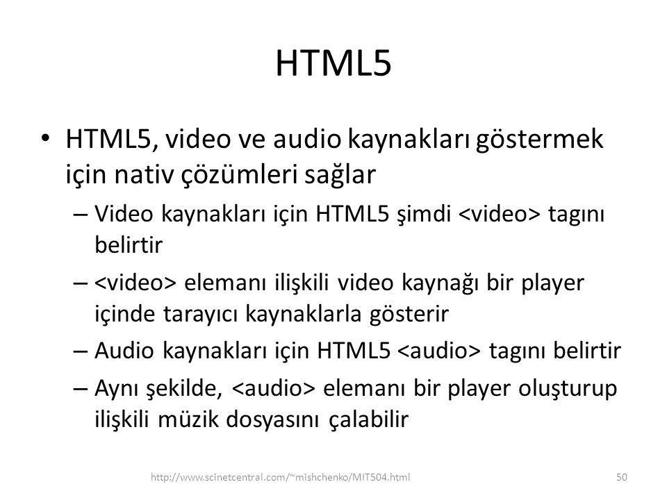 HTML5 HTML5, video ve audio kaynakları göstermek için nativ çözümleri sağlar. Video kaynakları için HTML5 şimdi <video> tagını belirtir.