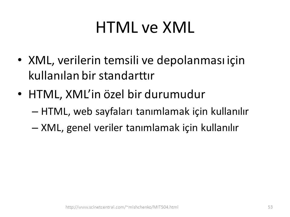 HTML ve XML XML, verilerin temsili ve depolanması için kullanılan bir standarttır. HTML, XML'in özel bir durumudur.