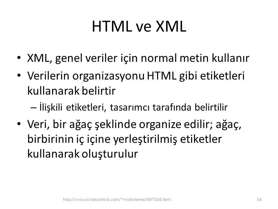 HTML ve XML XML, genel veriler için normal metin kullanır