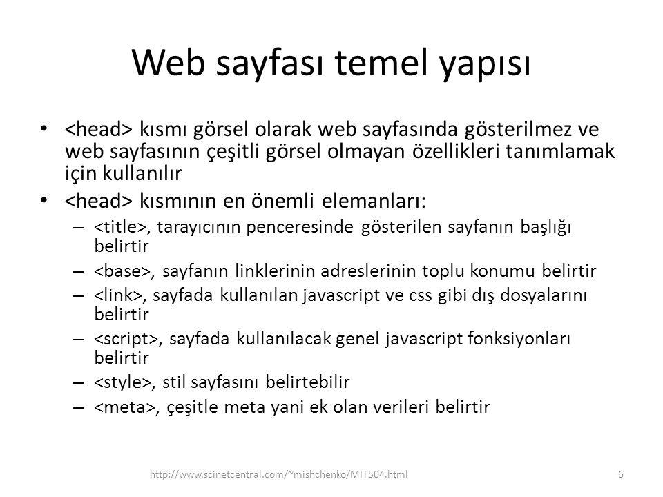 Web sayfası temel yapısı