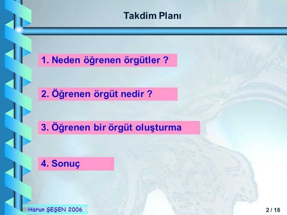 Takdim Planı 1. Neden öğrenen örgütler 2. Öğrenen örgüt nedir 3. Öğrenen bir örgüt oluşturma.