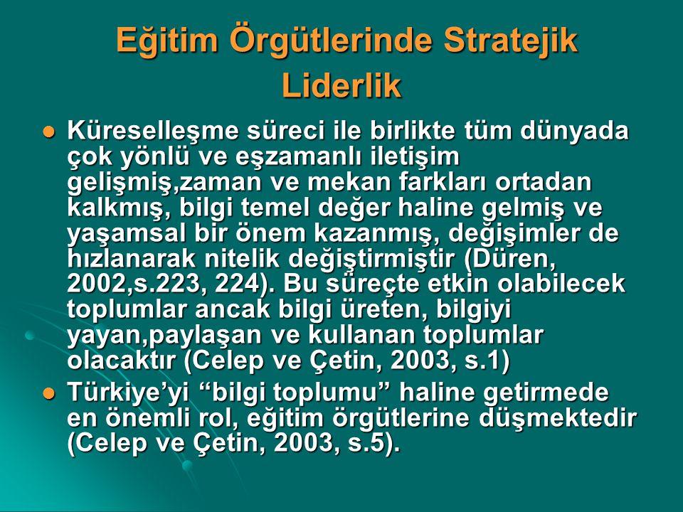 Eğitim Örgütlerinde Stratejik Liderlik