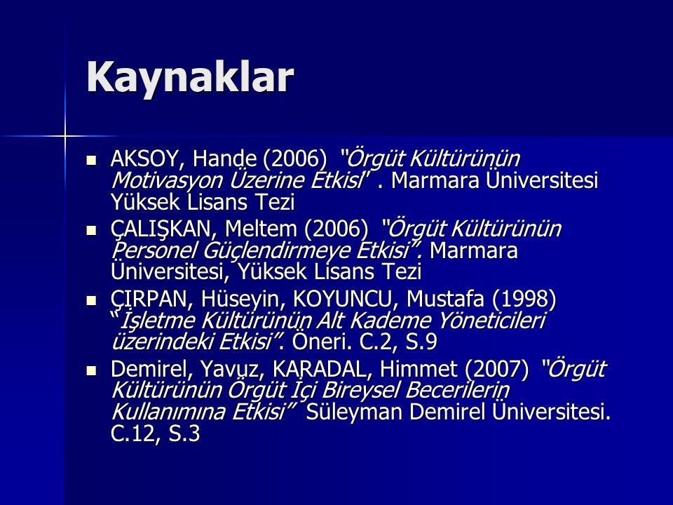 Kaynaklar AKSOY, Hande (2006) Örgüt Kültürünün Motivasyon Üzerine Etkisi . Marmara Üniversitesi Yüksek Lisans Tezi.