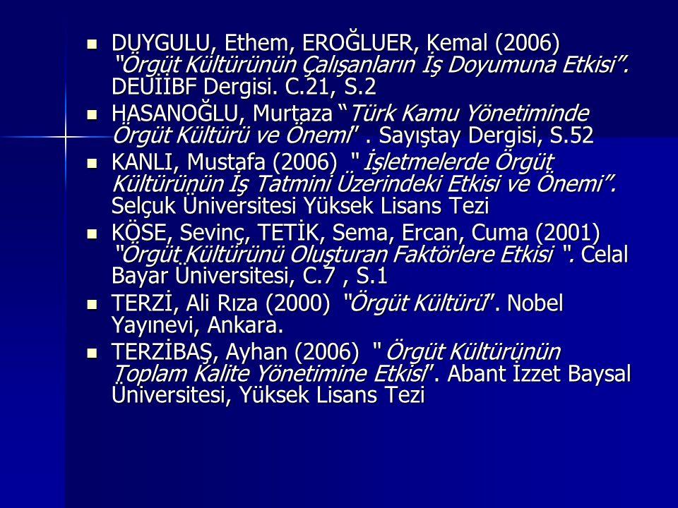 DUYGULU, Ethem, EROĞLUER, Kemal (2006) Örgüt Kültürünün Çalışanların İş Doyumuna Etkisi . DEUİİBF Dergisi. C.21, S.2