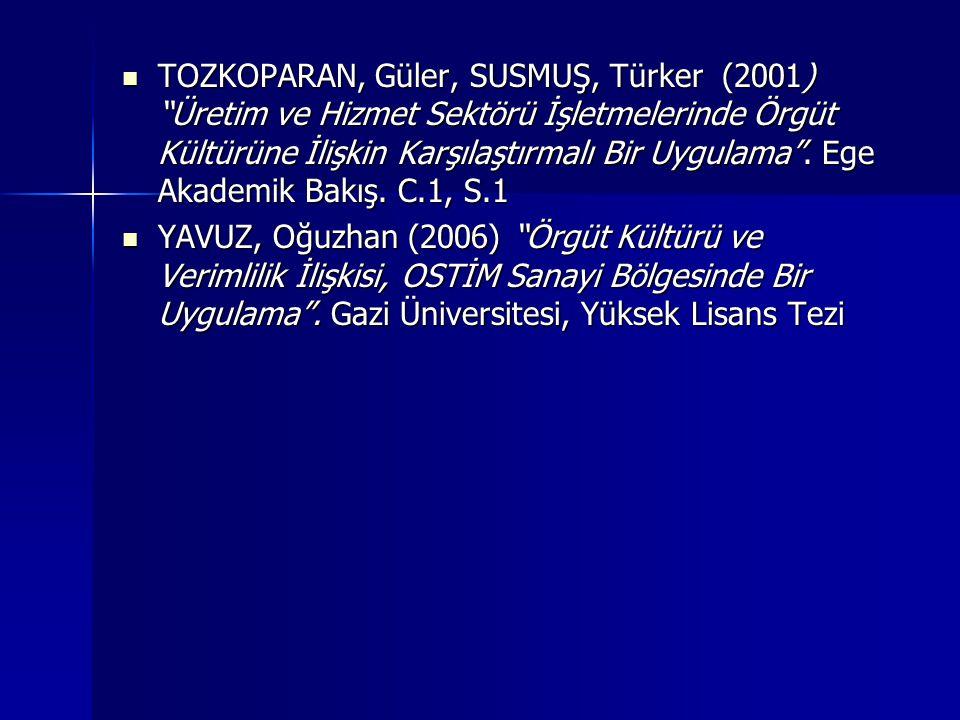 TOZKOPARAN, Güler, SUSMUŞ, Türker (2001) Üretim ve Hizmet Sektörü İşletmelerinde Örgüt Kültürüne İlişkin Karşılaştırmalı Bir Uygulama . Ege Akademik Bakış. C.1, S.1