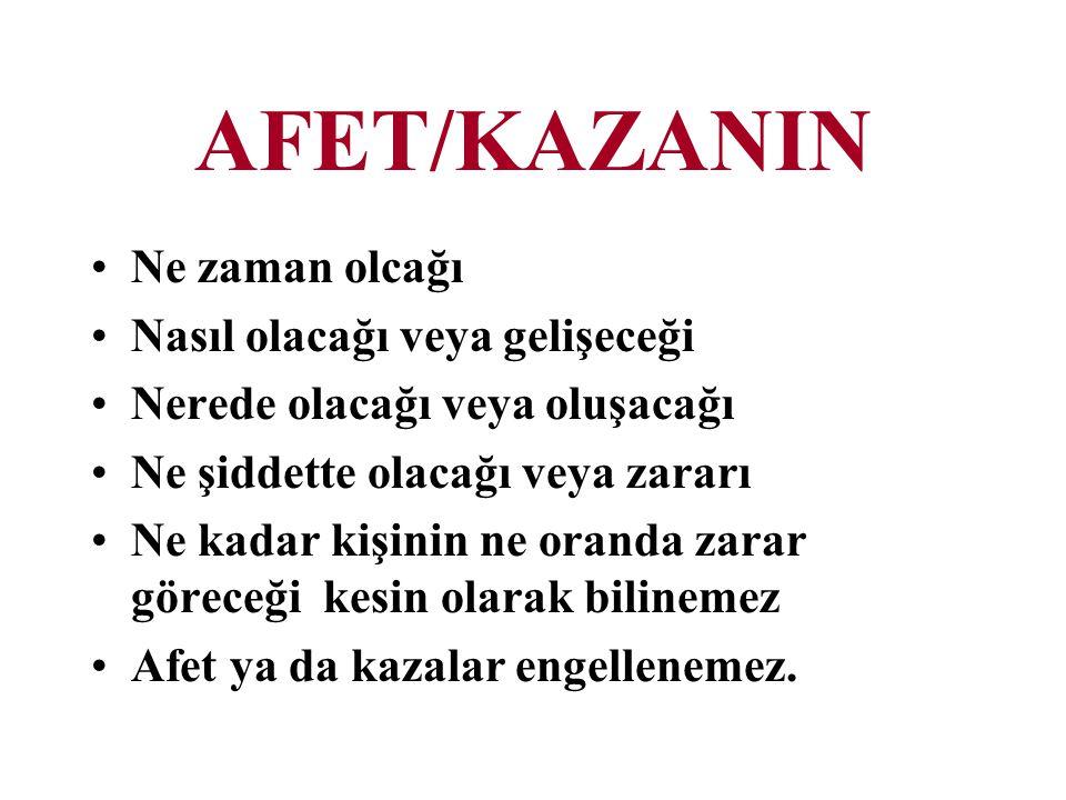 AFET/KAZANIN Ne zaman olcağı Nasıl olacağı veya gelişeceği