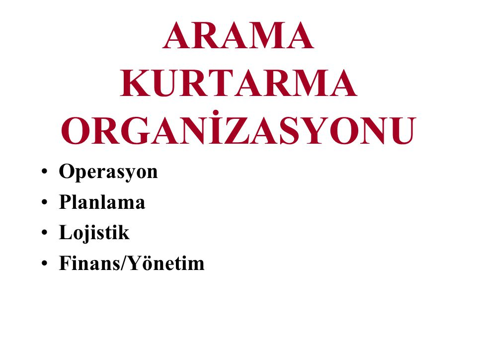 ARAMA KURTARMA ORGANİZASYONU