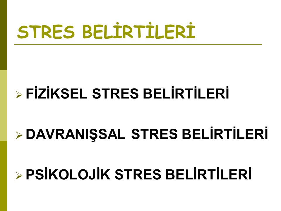 STRES BELİRTİLERİ FİZİKSEL STRES BELİRTİLERİ