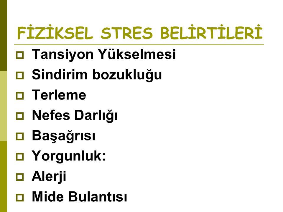 FİZİKSEL STRES BELİRTİLERİ
