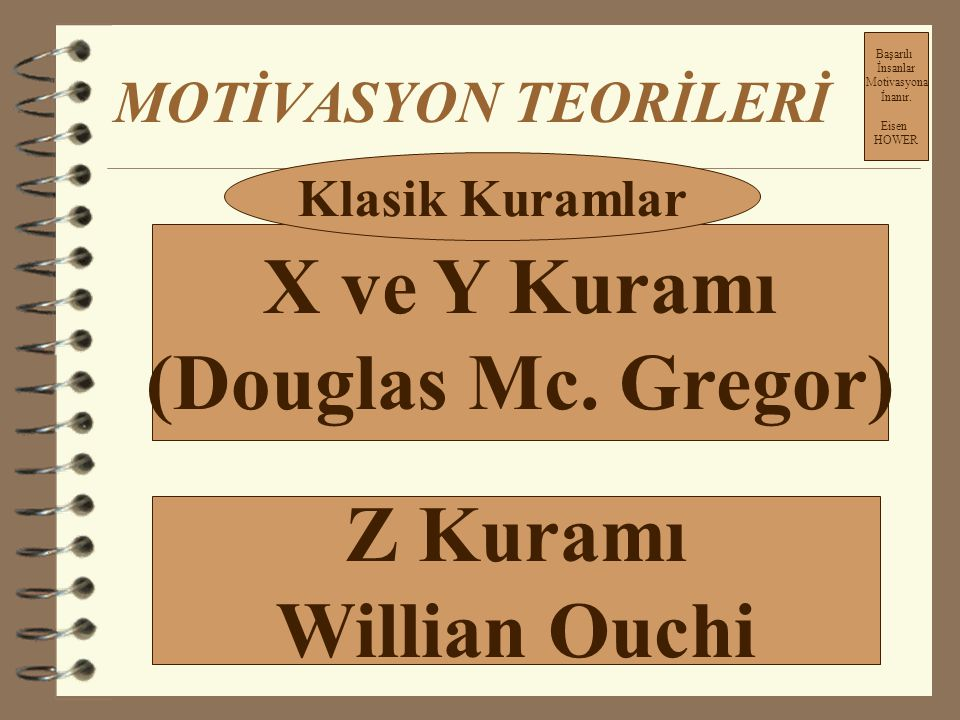 X ve Y Kuramı (Douglas Mc. Gregor) Z Kuramı Willian Ouchi