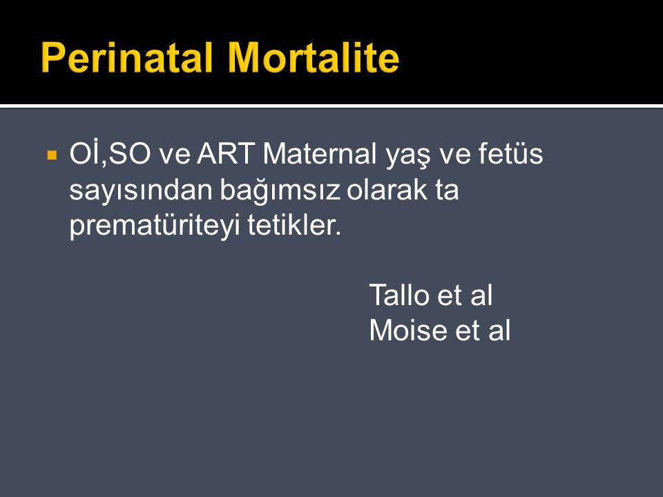 Perinatal Mortalite Oİ,SO ve ART Maternal yaş ve fetüs sayısından bağımsız olarak ta prematüriteyi tetikler.