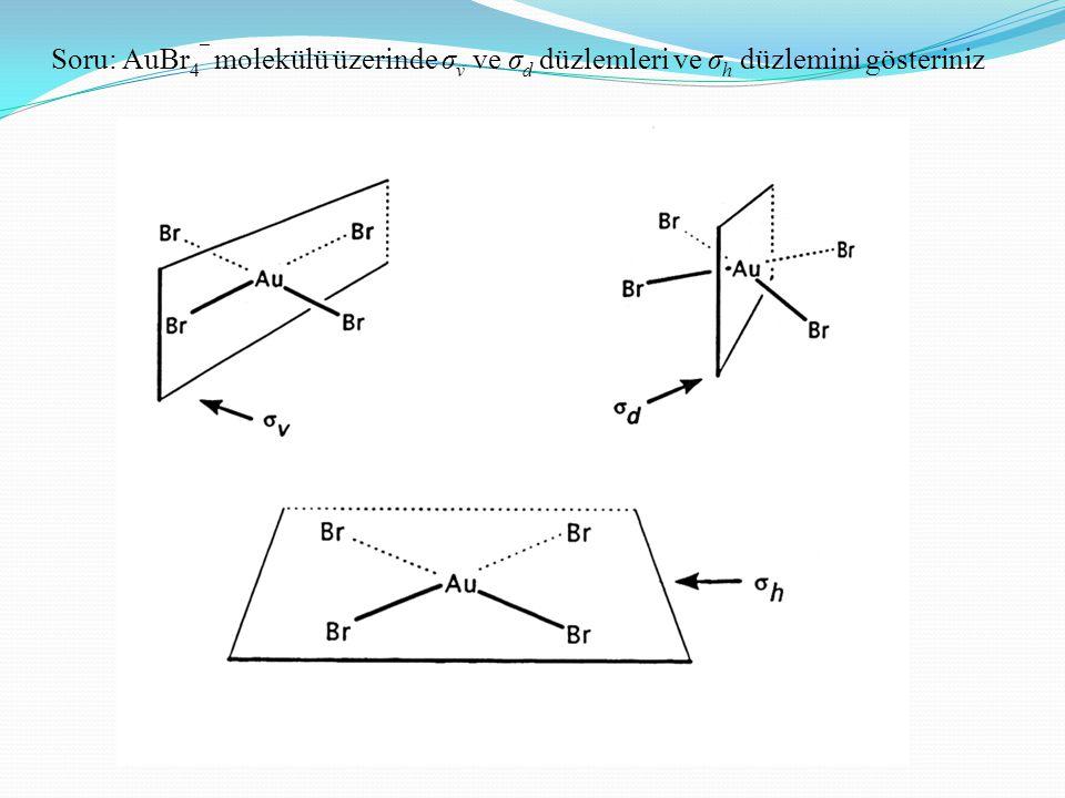 Soru: AuBr4¯ molekülü üzerinde σv ve σd düzlemleri ve σh düzlemini gösteriniz