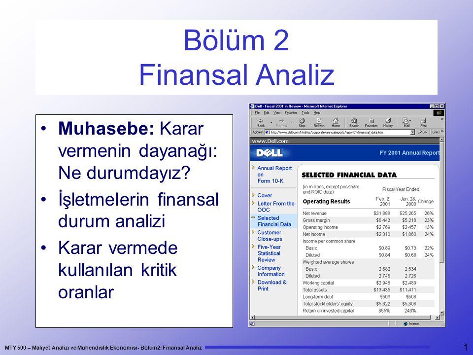 Bölüm 2 Finansal Analiz Muhasebe: Karar vermenin dayanağı: Ne durumdayız İşletmelerin finansal durum analizi.