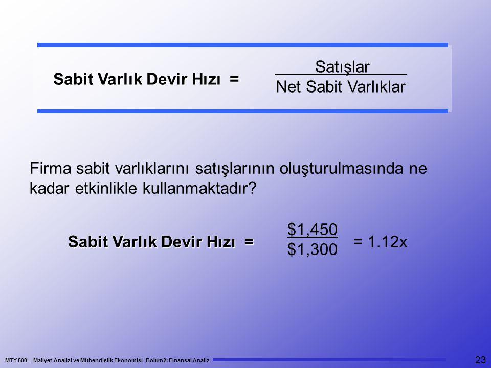 Satışlar Net Sabit Varlıklar. Sabit Varlık Devir Hızı = Firma sabit varlıklarını satışlarının oluşturulmasında ne kadar etkinlikle kullanmaktadır
