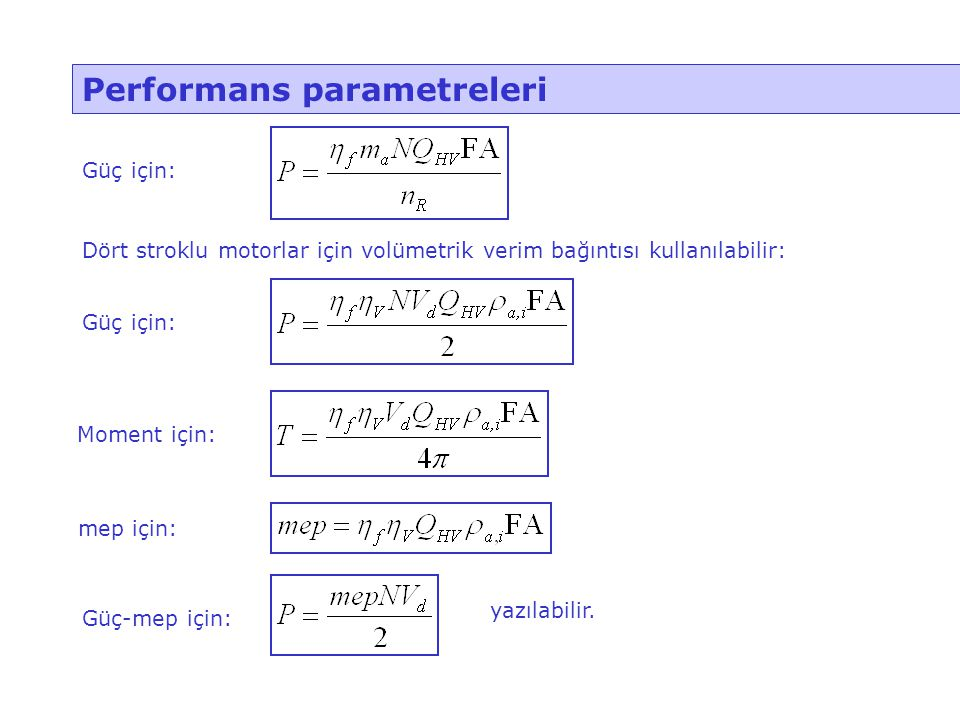 Performans parametreleri