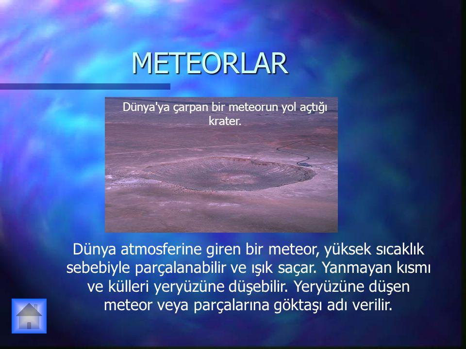 Dünya ya çarpan bir meteorun yol açtığı krater.