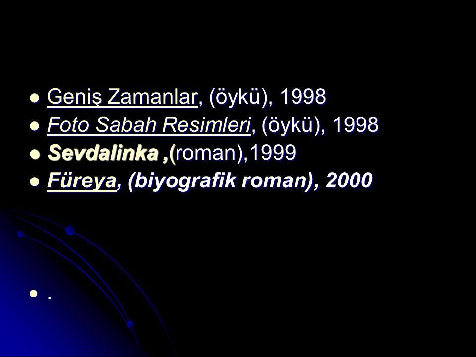Geniş Zamanlar, (öykü), 1998 Foto Sabah Resimleri, (öykü), 1998. Sevdalinka ,(roman),1999. Füreya, (biyografik roman), 2000.