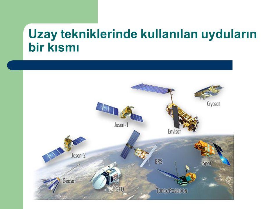 Uzay tekniklerinde kullanılan uyduların bir kısmı