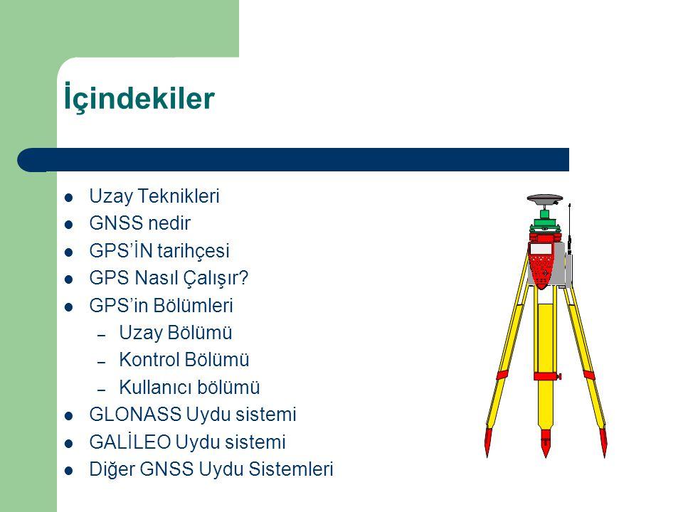 İçindekiler Uzay Teknikleri GNSS nedir GPS'İN tarihçesi
