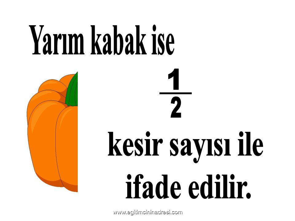 Yarım kabak ise 1 2 kesir sayısı ile ifade edilir.