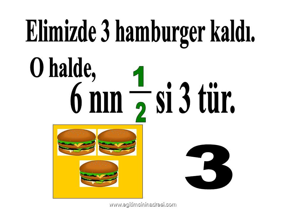 Elimizde 3 hamburger kaldı.