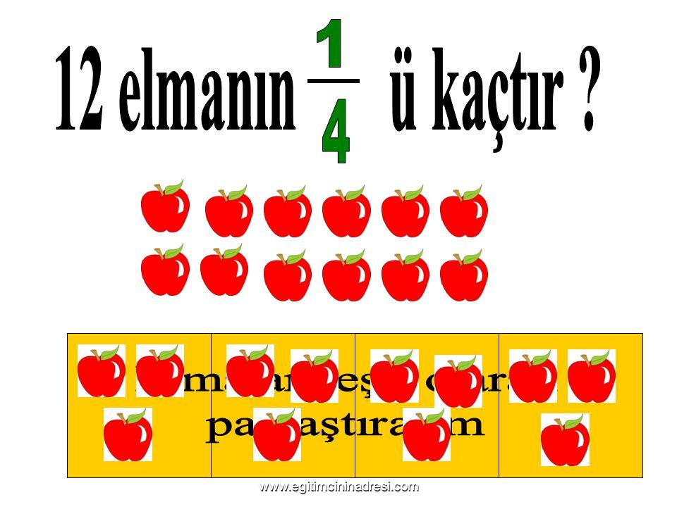 1 12 elmanın ü kaçtır 4 Elmaları eşit olarak Bütünü 4 e böleriz.